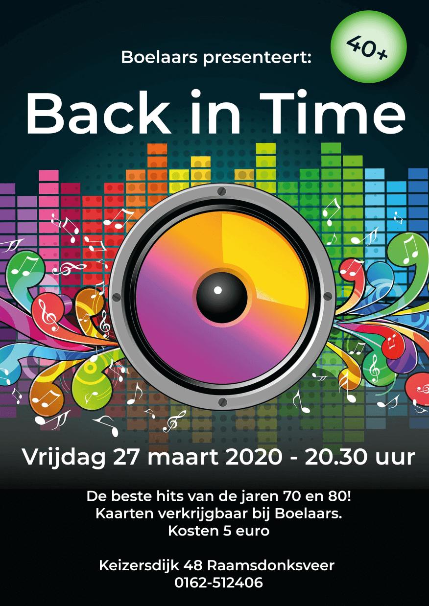 Poster back in time boelaars zalencentrum 27 maart 2020